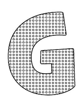 Push Pin Poke Sheets for Letter G - Fine Motor for the Alphabet