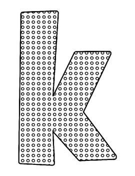 Push Pin Poke Sheets for Letter K - Fine Motor for the Alphabet
