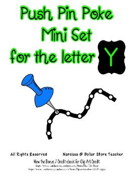 Push Pin Poke Sheets for Letter Y - Fine Motor for the Alphabet