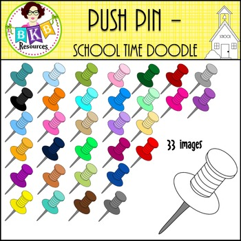 Push Pin - School Time Doodle {Graphics for Commercial Use}