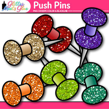 Push Pins Clip Art {Rainbow Glitter Back to School Supplies for Posters}