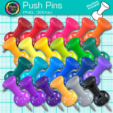 Rainbow Push Pin Clip Art {Back to School Supplies for Classroom Resources}