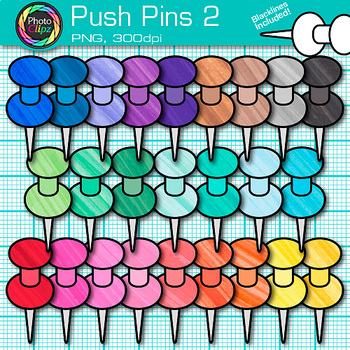 Push Pins Clip Art {Rainbow Glitter Back to School Supplies for Posters} 2