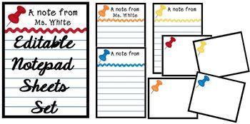 """""""Push Pins"""" Notepad Sheets Set {Editable}"""
