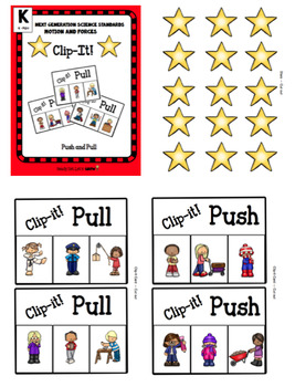 Push Pull Bundle: Clip- IT!  & Worksheets (NGSS K-PS2-1)