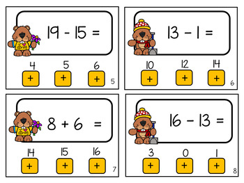 Push and Look Self-Correcting Cards Addition and Subtraction Groundhog's Day