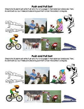 Push and Pull Picture Sort for Interactive Notebook
