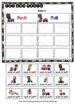 Push and Pull Sorts   Cut and Paste Worksheet