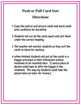 Push or Pull Card Sort