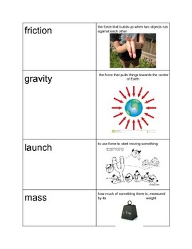 Push/Pull Forces in Motion Vocab. Cards
