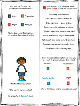 Pushing My Anger Buttons: Worksheets and Task Cards for Anger Management