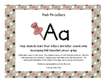 Pushpin Letters for Word Work