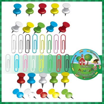 Pushpins and Paperclips - Clip art school supplies