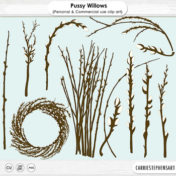 Pussy Willow Tree Branches Clip Art, Catkins, Spring, East