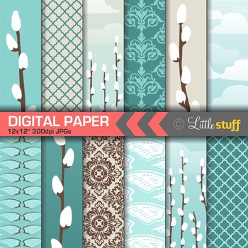 Pussywillow Digital Papers, Blue and Brown Patterns