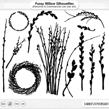 Pussy Willow Silhouette Clip Art, Easter, Mother's Day ClipArt, Spring Wreath