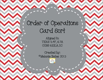 Order of Operations Card Sort - Grades 5/6/7