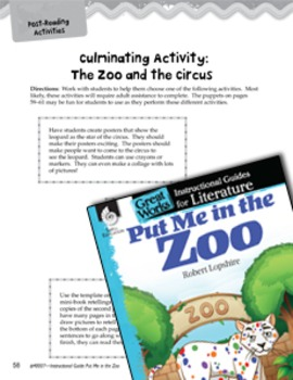 Put Me in the Zoo Close Reading and Text-Dependent Questions (eLesson)