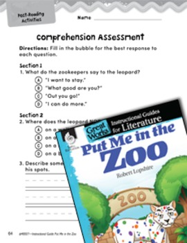 Put Me in the Zoo Comprehension Assessment