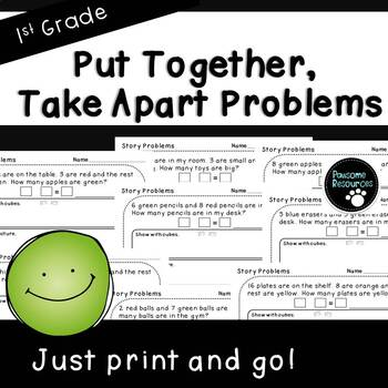 Put Together, Take Apart Word Problems-Student Pages (First Grade, 1.OA.1)