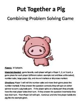 Put Together a Pig Combining Word Problems 1 digit + 1 digit