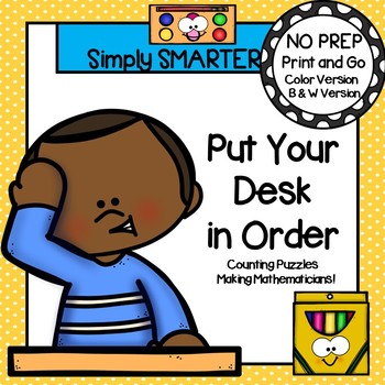 Put Your Desk in Order:  NO PREP Back to School Themed Counting Puzzles