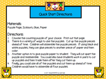 NO PREP Back to School Themed Counting Puzzles