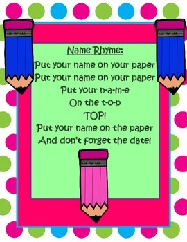 Put Your Name on Your Paper-Rhyme *FREEBIE*