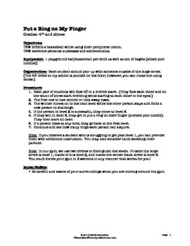 Put a Ring on My Finger - Large Group PE Activity