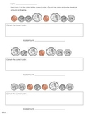 Put coins in order and count coins- money worksheet