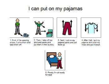 Put on pajamas- by myself!