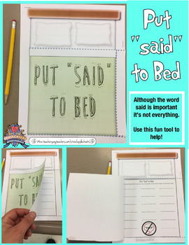 "Put ""said"" to Bed  Teach your students options other than the word said (Free)"