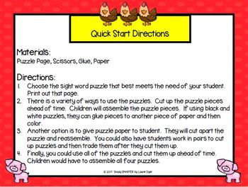 NO PREP Farm Themed Beginning Sight Word Puzzles