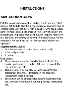 Putt the Numbers