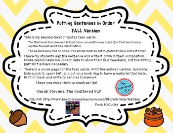 Sentence Scramble - Putting Sentences in Order - Fall Edition