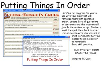 Putting Things In Order
