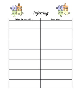 """Putting the Pieces Together"" Inferring Graphic Organizer"