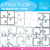 Puzzle - 4 Piece - Clipart Graphics for Teaching & Classrooms