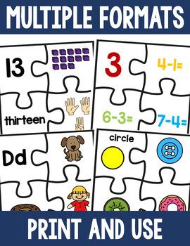 Puzzle Activity Bundle - Math and Literacy Skills