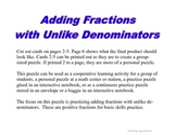 Adding Fractions with Unlike Denominators - PP