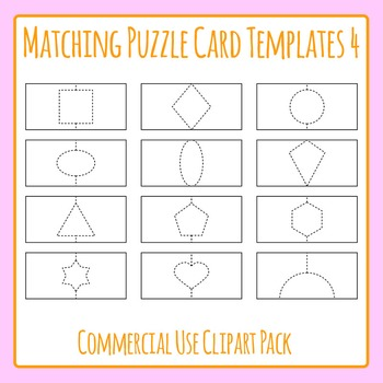 Puzzle Card Templates 4 with Shapes for Matching Games Clip Art Commercial Use