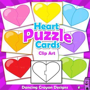 Clip Art Puzzle Cards - Hearts