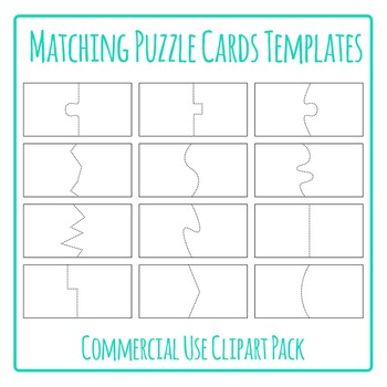 Puzzle Cards Templates for Matching Games Clip Art Pack for Commercial USe