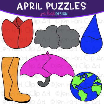 Puzzle Clip Art -April Themed Puzzles {jen hart Clip Art}