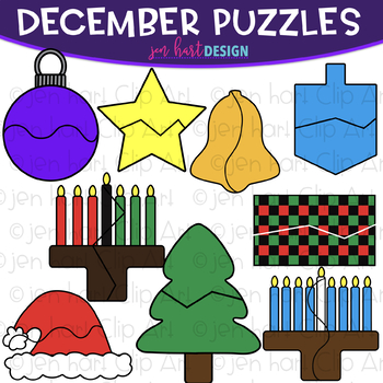 Puzzle Clip Art -December Themed Puzzles {jen hart Clip Art}
