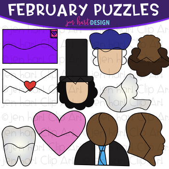 Puzzle Clip Art -February Themed Puzzles {jen hart Clip Art}