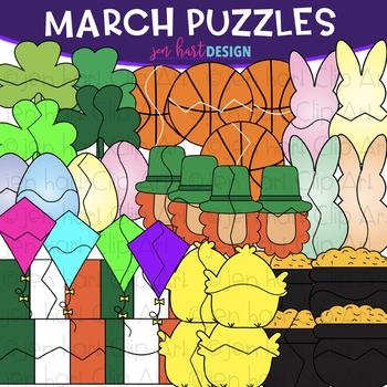Puzzle Clip Art -March Themed Puzzles {jen hart Clip Art}