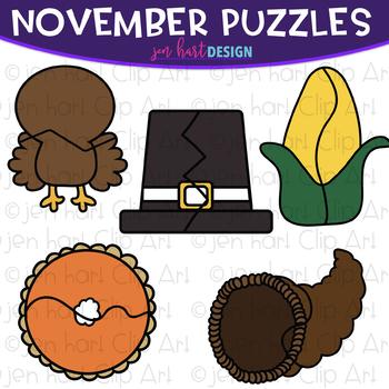 Puzzle Clip Art -November Themed Puzzles {jen hart Clip Art}