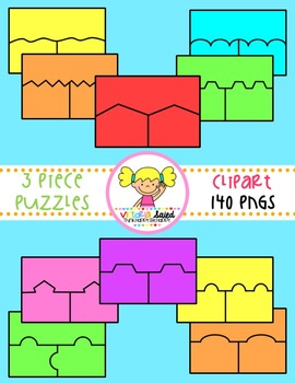 Puzzle Clipart {3 Piece Color-FIlled Templates}