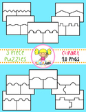 Puzzle Clipart {3 Piece Templates}